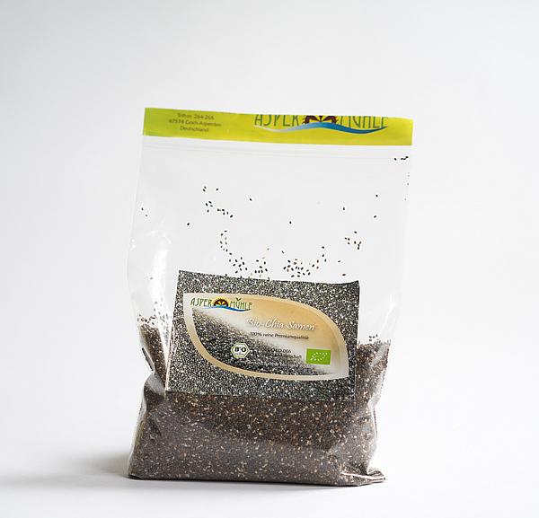 Superfood und Super pflegende Rohstoffe aus der Aspermühle - Bio Chia Samen - Premium Qualität - Extra gereinigt