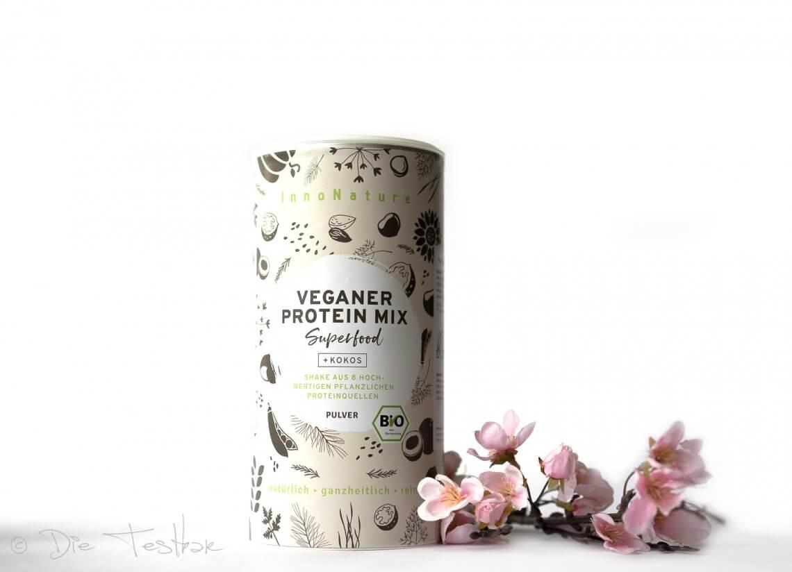 Bio Veganer Protein Mix Superfood Shake: Erbse, Reis, Kürbis, Mandel, Chiasamenvon InnoNature