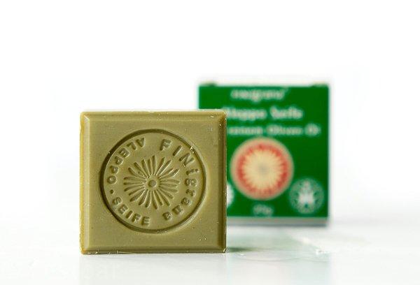 Gäste-Aleppo Seifen 25g 100% Olive quadratisch in Box
