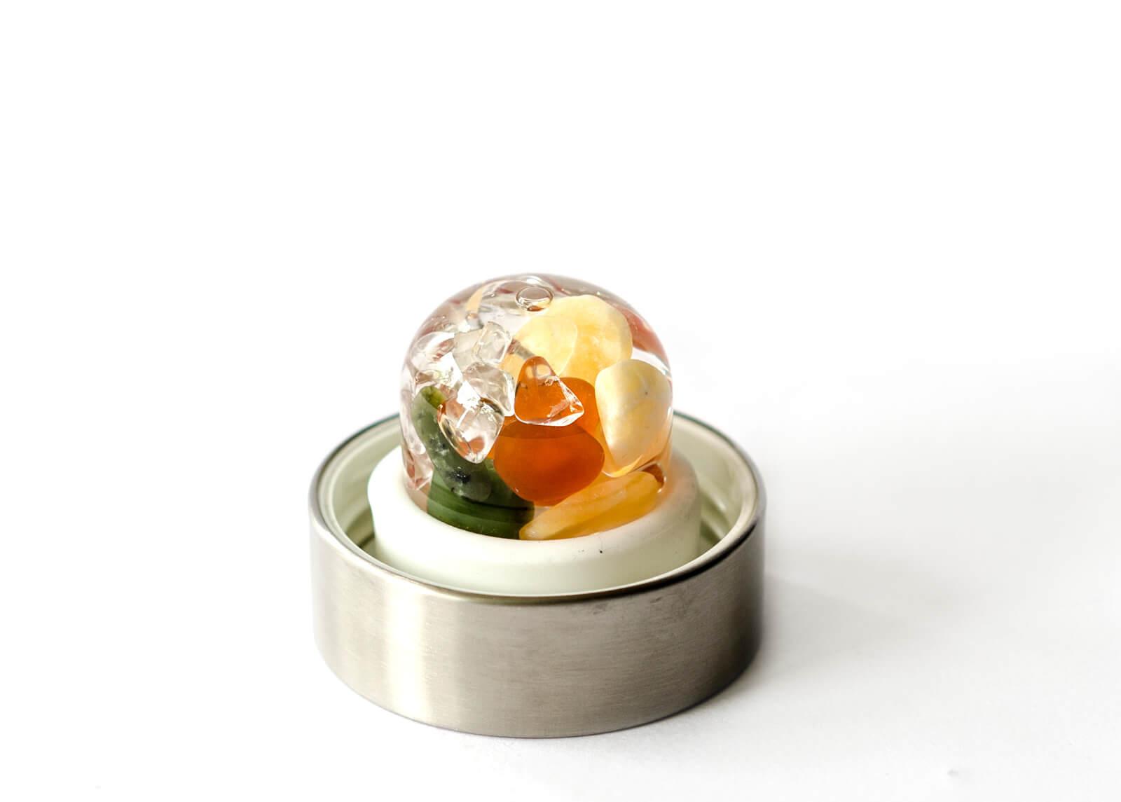 Jade (Nephrit) – Karneol – Orangencalcit – Bergkristall