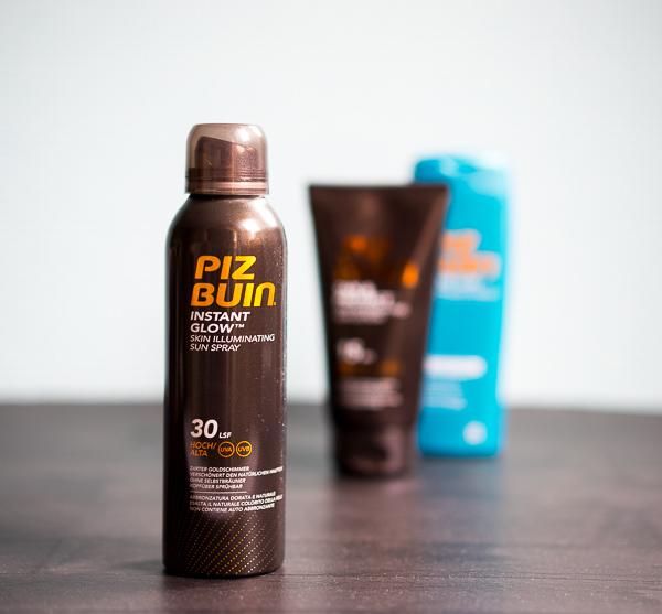 Sonnenschutzspray mit Goldschimmereffekt
