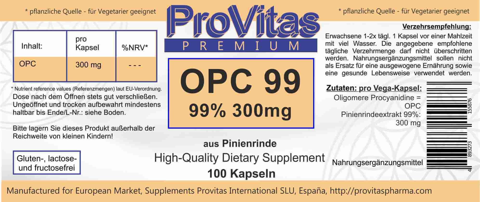 OPC 99 High - Anti-Aging-Vitamin von ProVitas