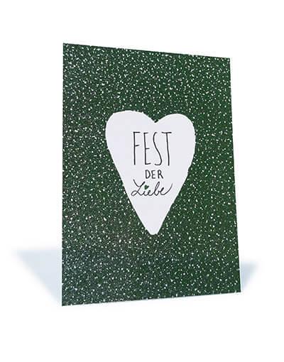 """Stay Inspired! - Glitzer-Postkarte """"Fest der Liebe"""""""