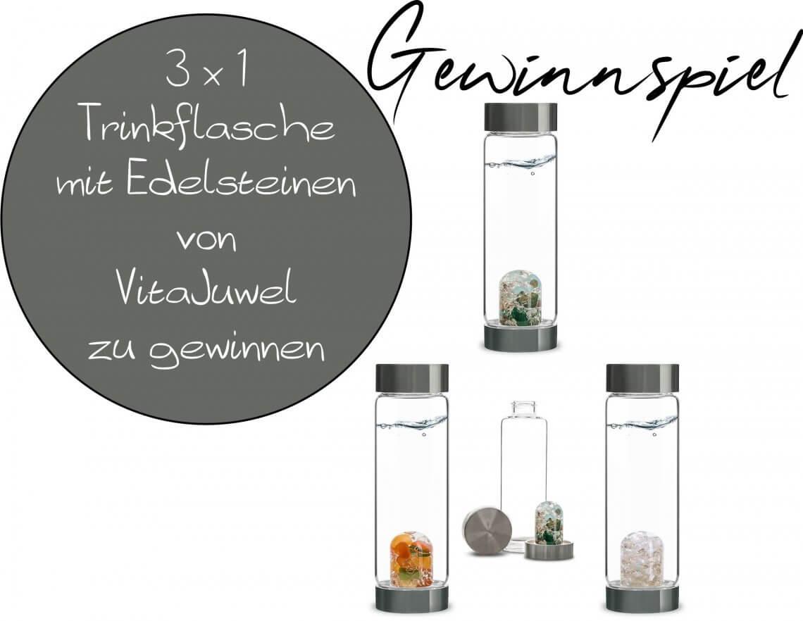 Gewinnspiel - Edelsteinwasser mit VitaJuwel - Hochwertige Trinkflasche VIA FOREVER YOUNG und Dosierspender Pump! Happiness- 3 x 1 Trinkflasche zu gewinnen